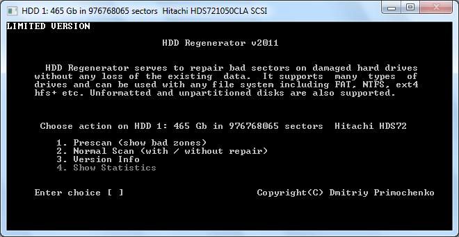 Запуск сканирования диска в программе HDD Regenerator