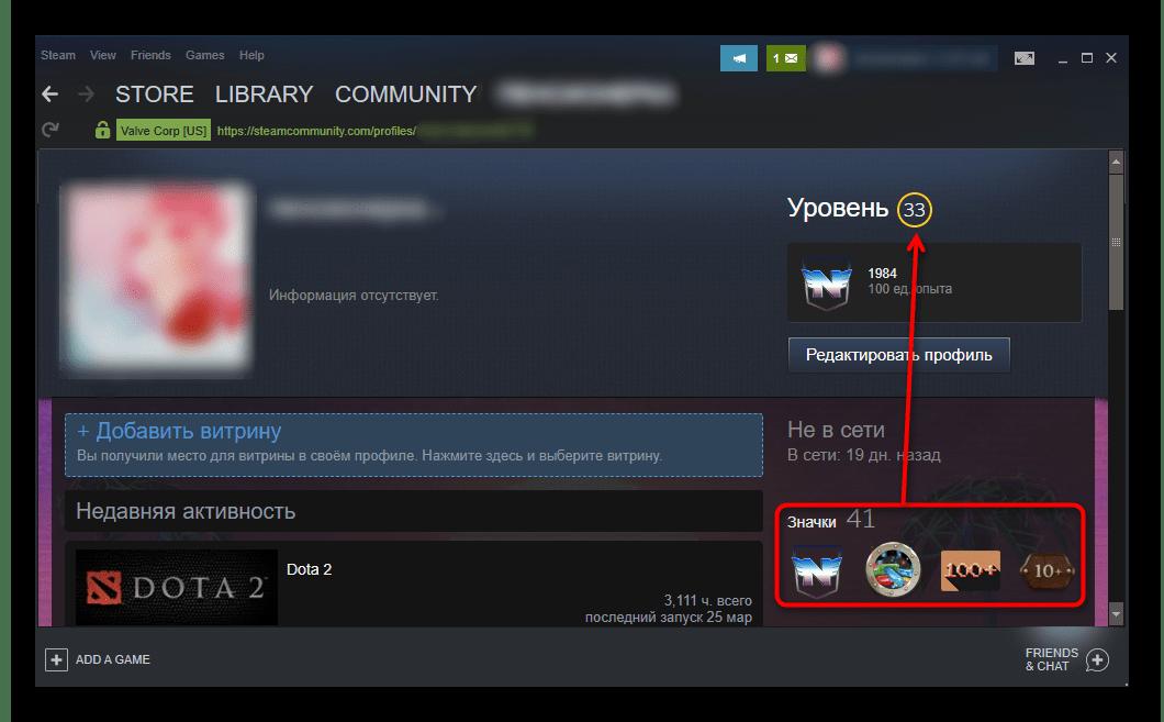 Значки и уровень Steam