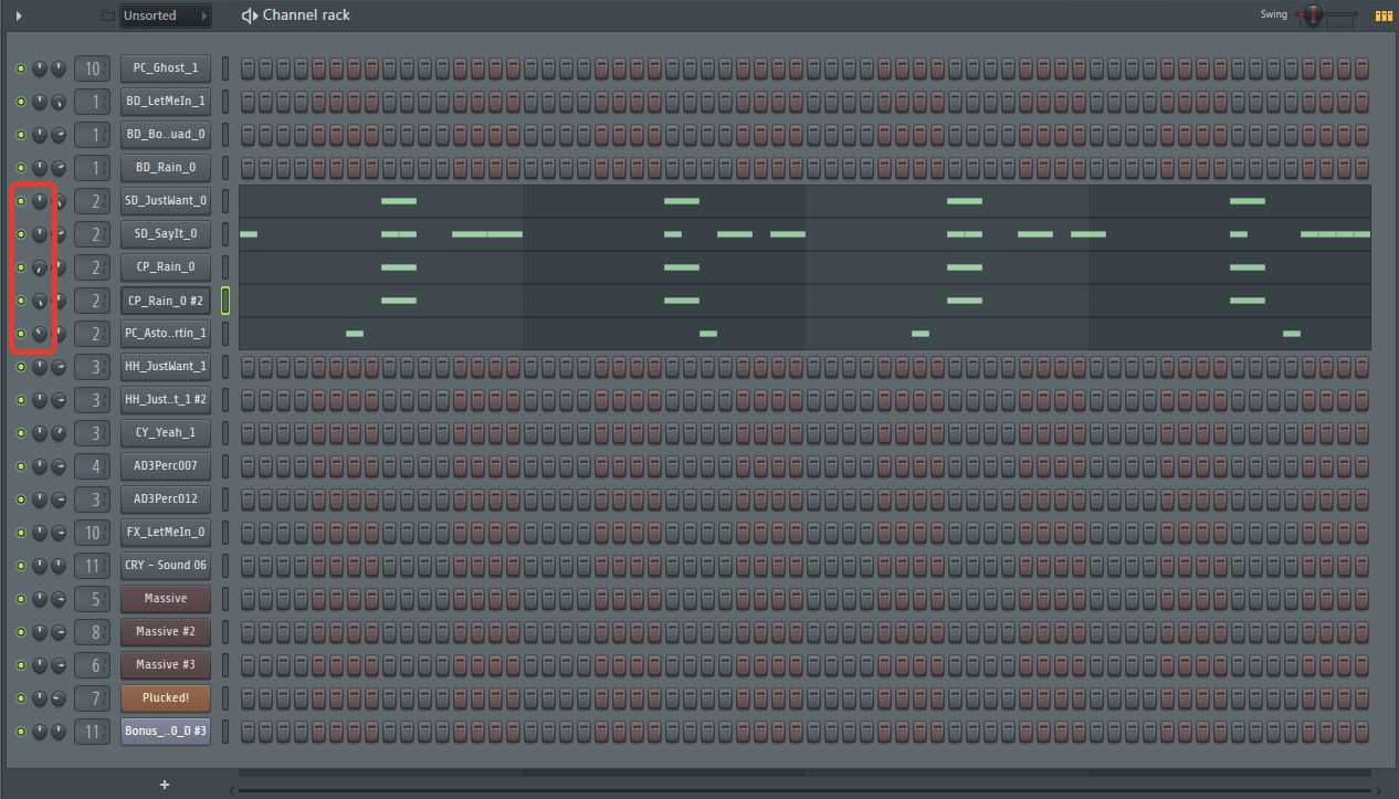 Звуковая панорама (Snare) в FL Studio