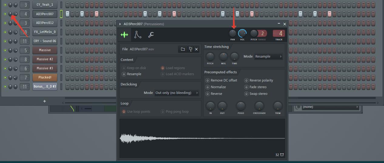 Звуковая панорама (перкуссия) в FL Studio