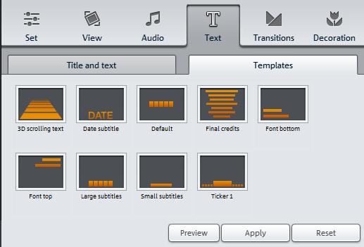 анимация текста в Magix Photostory