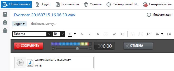 аудио в Evernote
