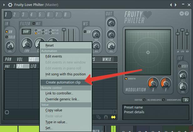 автоматизация фильтра в FL Studio