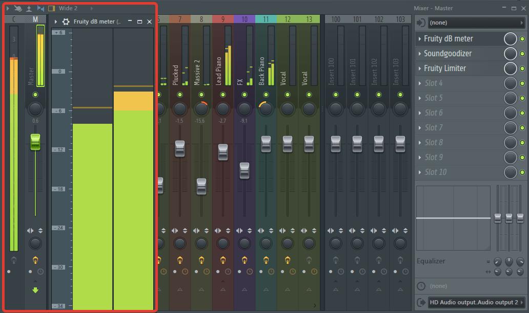 dBMeter на мастер-канале в FL Studio