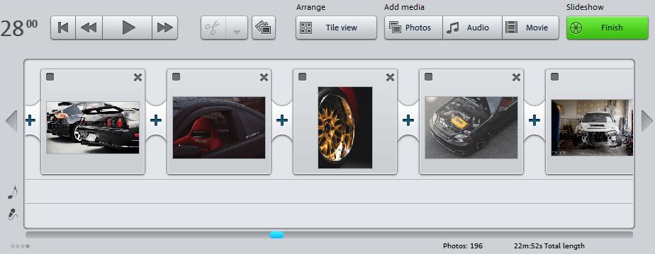 добавленные изображения в Magix Photostory
