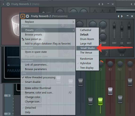 эффект реверба для перкуссии в FL Studio