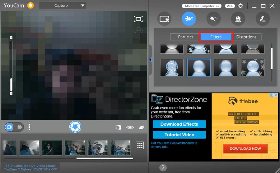 фильтры в CyberLink YouCam