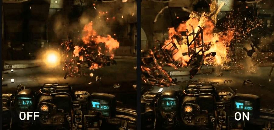 игра с включенной и выключенной технологией NVIDIA PhysX 1