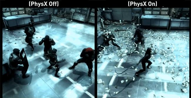 игра с включенной и выключенной технологией NVIDIA PhysX 3