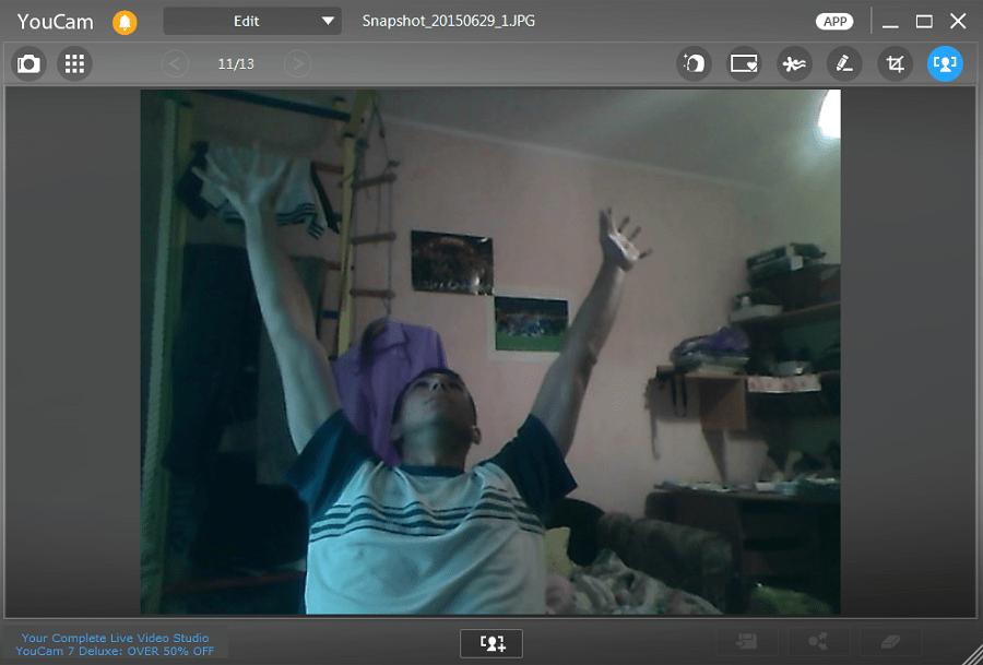 окно редактора фото в CyberLink YouCam
