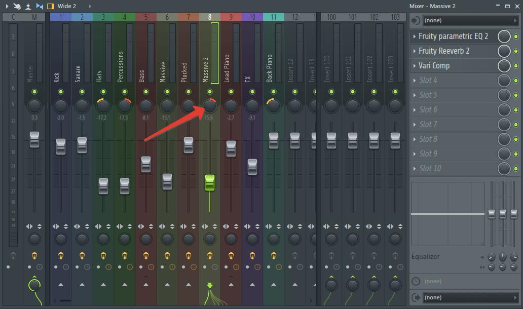 панорамирование музыкального наполнения в FL Studio