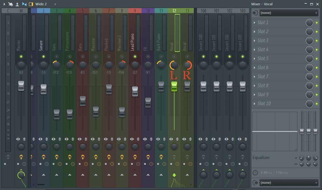 панорамирование вокала в FL Studio