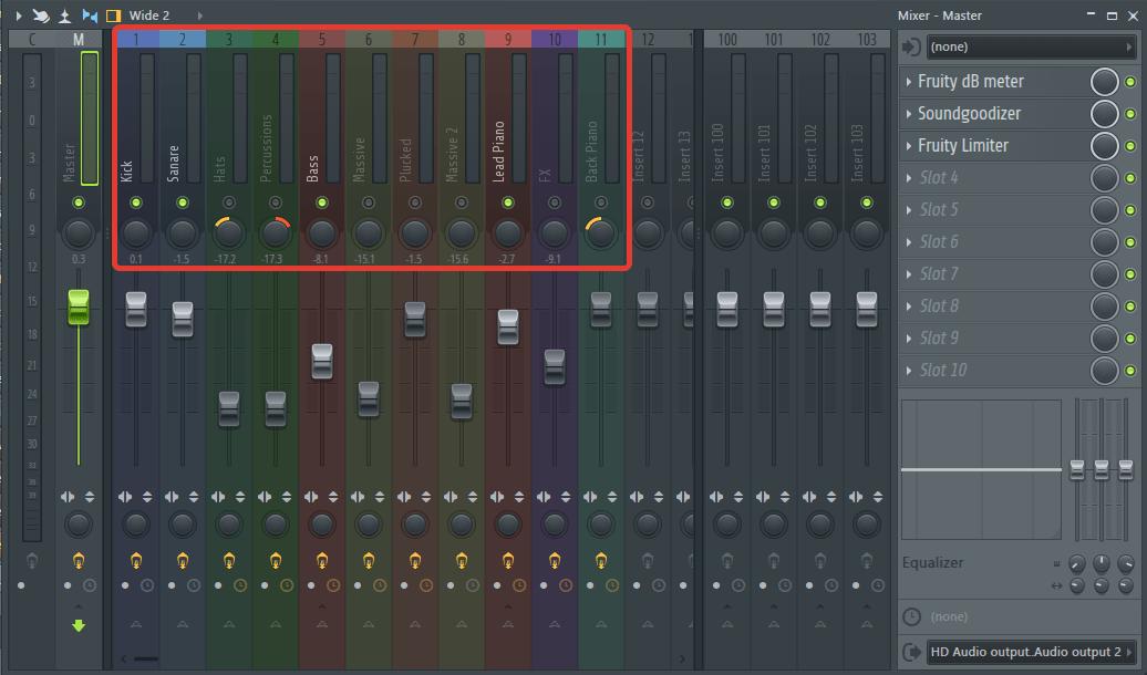 переименовать, закрасить микшер в FL Studio