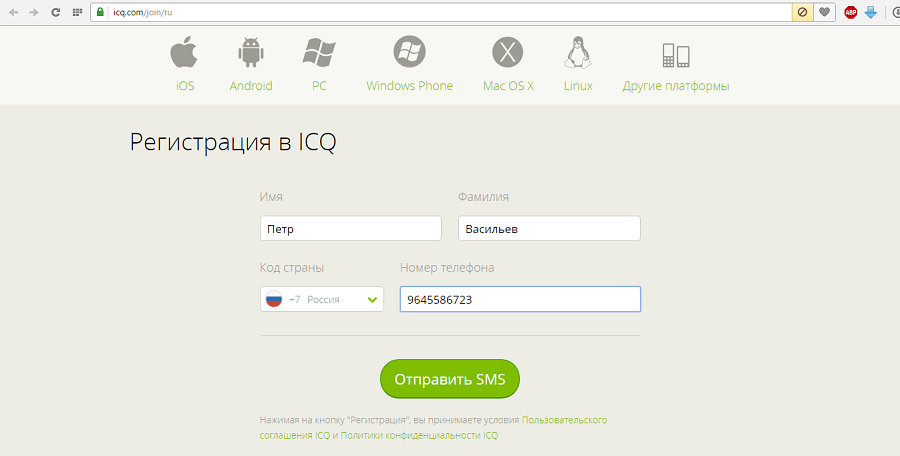 страница регистрации в ICQ