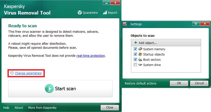 выбор объектов сканирования в Kaspersky Virus Removal Tool