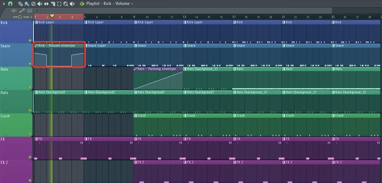 затухание громкости кика в FL Studio