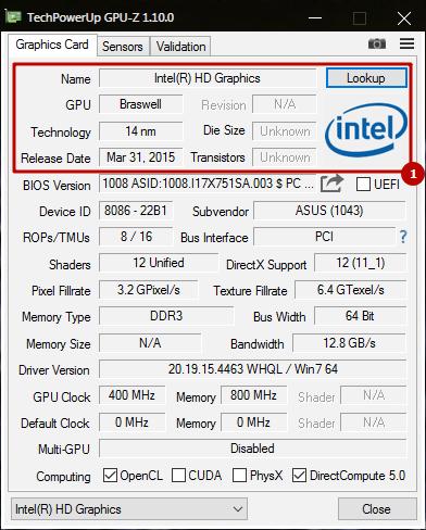 1. Первый блок информации в TeckPowerUp GPU-Z