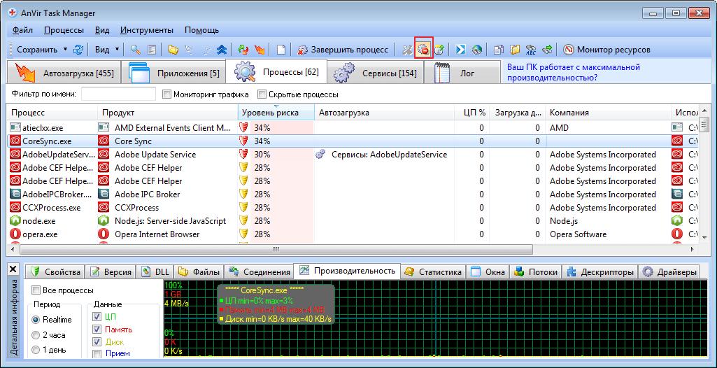 Добавление файла в карантин в программе Anvir Task Manager