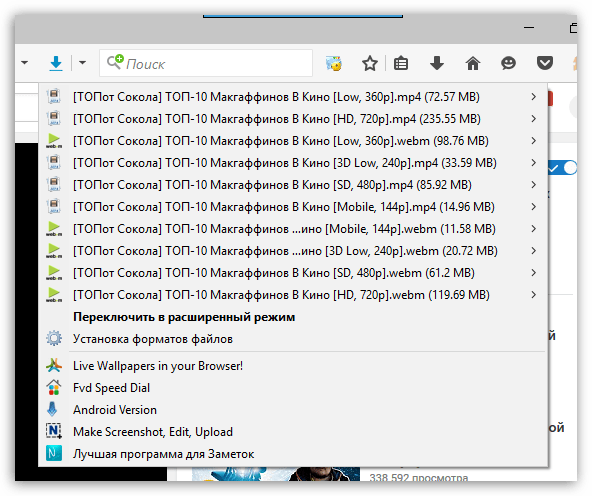 Flash Video Downloader для Firefox
