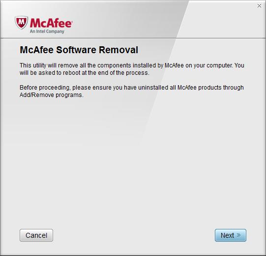 Главное окно утилиты Mcafee Removal Tool