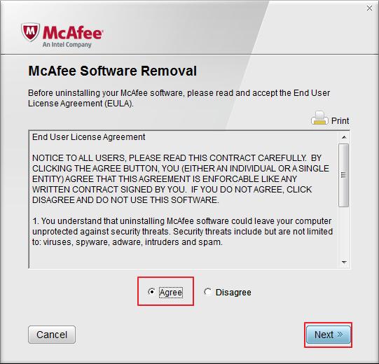 Лицензионное соглашение McAfee Removal Tool для удаления McAfee
