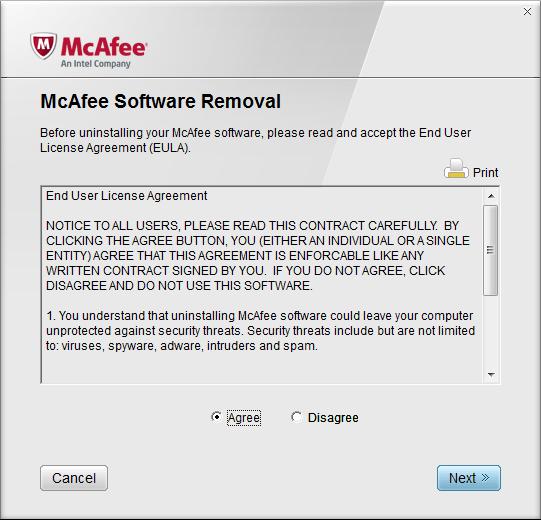 Лицензионное соглашение утилиты Mcafee Removal Tool