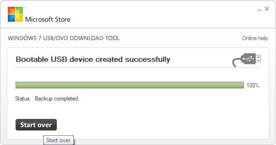 Окончание записи в программе Windows USB_DVD Download Tool