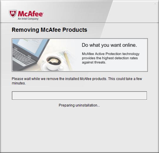 Процесс удаления продуктов Mcafee в программе Mcafee  Removal Tool