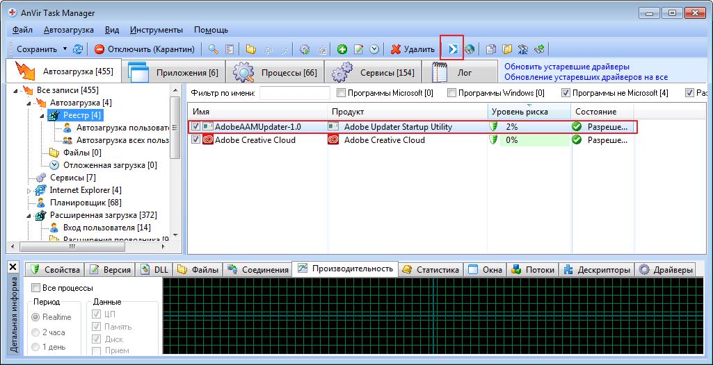 Проверка на вирусы в программе Anvir Task Manager