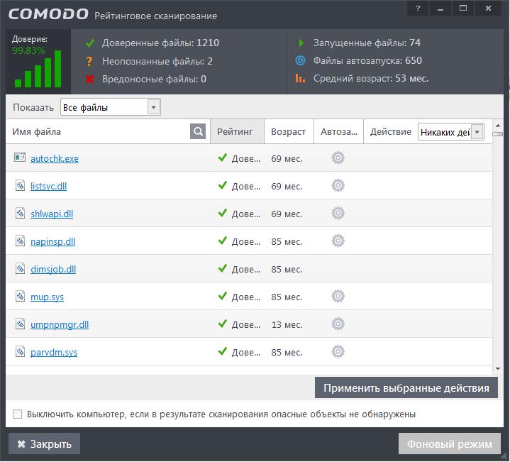 Рейтинговое сканирование в Комодо антивирус