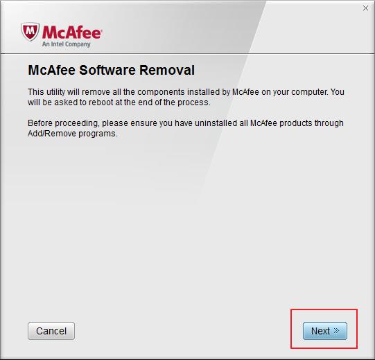 Утилита McAfee Removal Tool  для удаления продуктов Mcafee