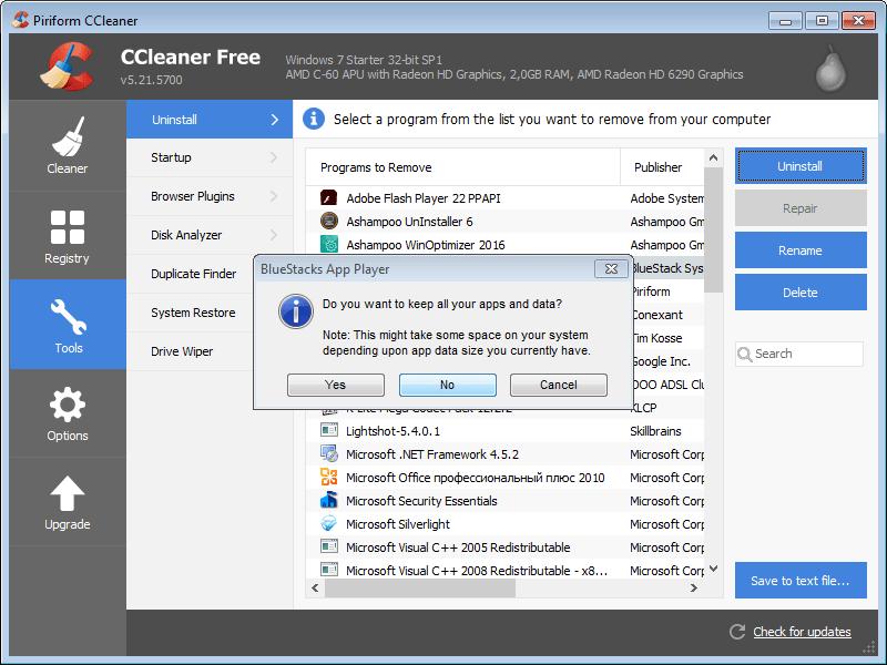 Второе подтверждение удаления BlueStacks с помощью программы CCleaner