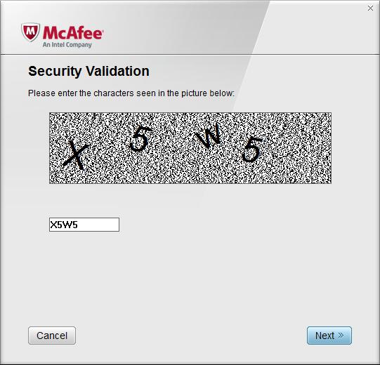 Введение символов Mcafee Removal Tool