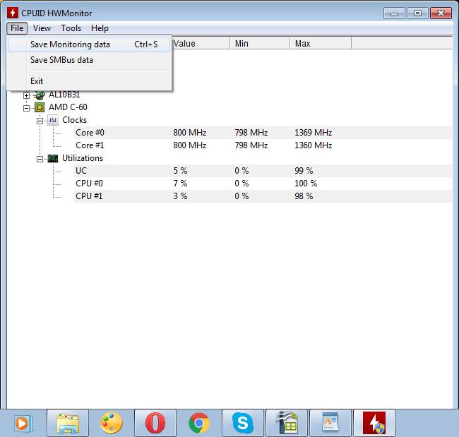 Меню файл программы HWMonitor