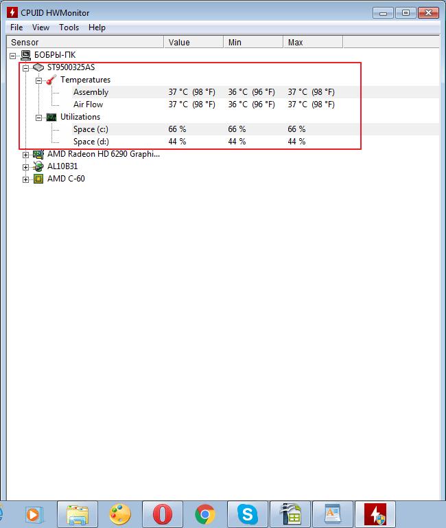 Параметры жесткого диска в программе HWMonitor
