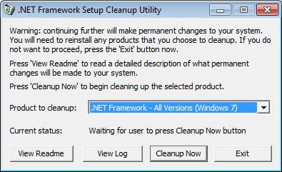 Удаление Microsoft .NET Framework с помощью утилиты .NET Framework Cleanup Tool