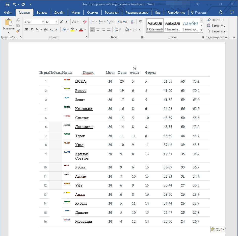 как скачать таблицу с информацией