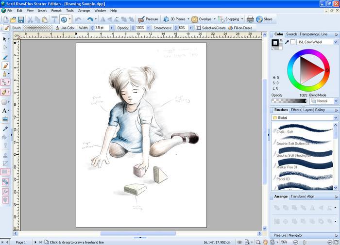 Бесплатные программы для иллюстраторов Draw Plus Starter Edition