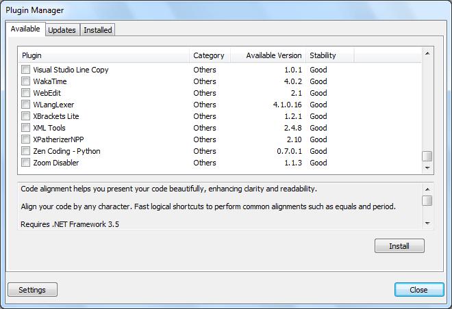 Менеджер плагинов в Notepad++