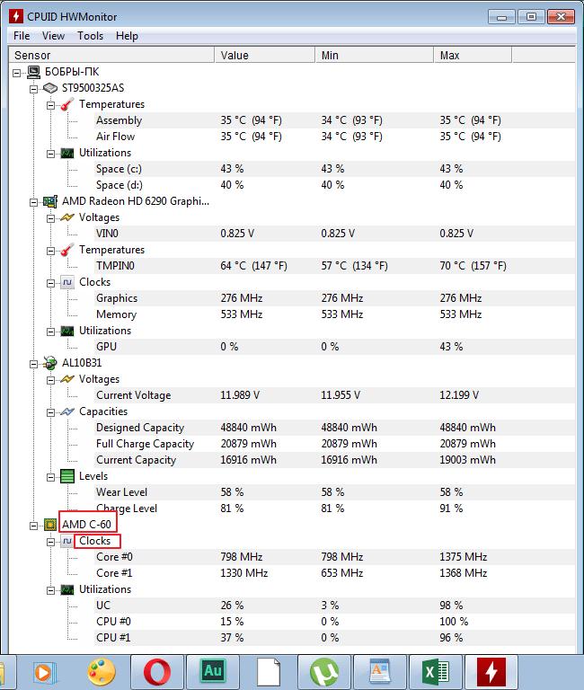 Напряжение процессора в программе HWMonitor