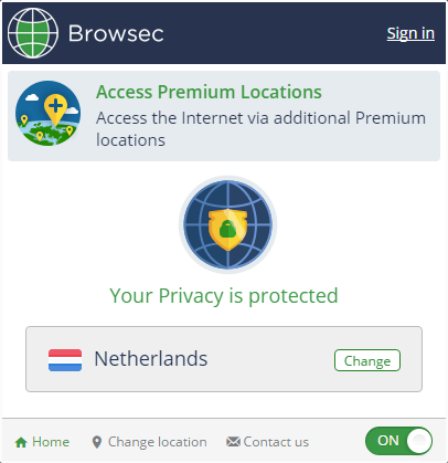Смена сервера Browsec в Яндекс.Браузере-1