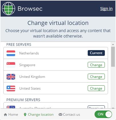 Смена сервера Browsec в Яндекс.Браузере