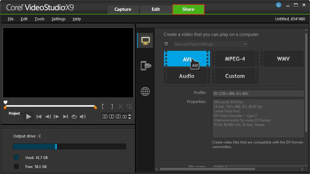 Вкладка Share в программе Corel VideoStudio