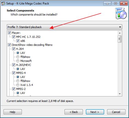 Выбор настроек пакета инструментов K-Lite Codec Pack