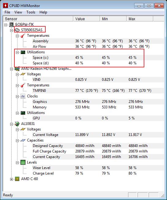 Загруженность жесткого диска в программе HWMonitor