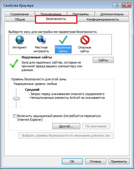 Безопасность в программе Internet Explorer