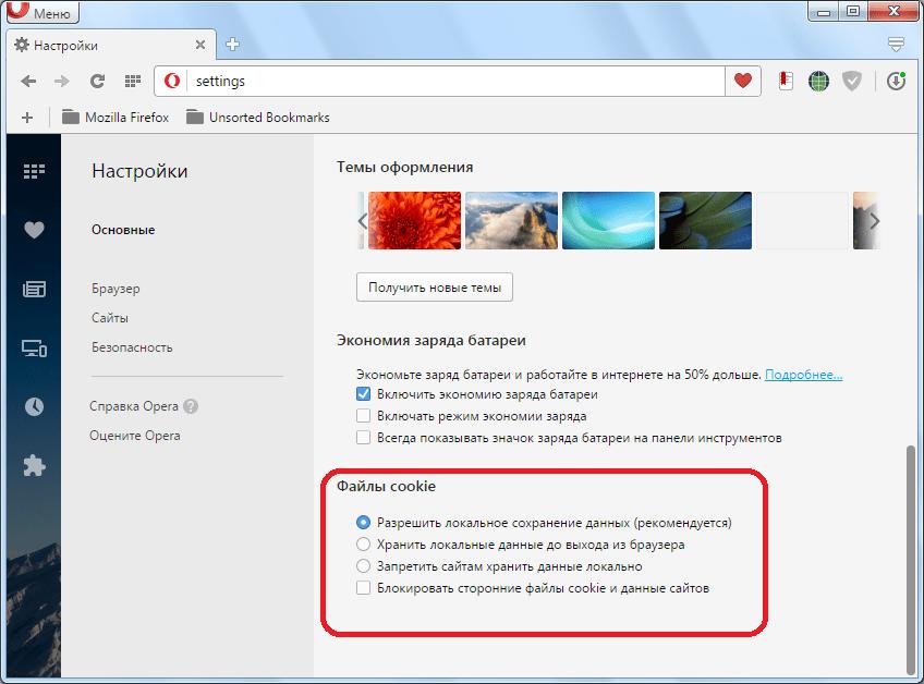 Блок настроек файлы cookie  в Opera