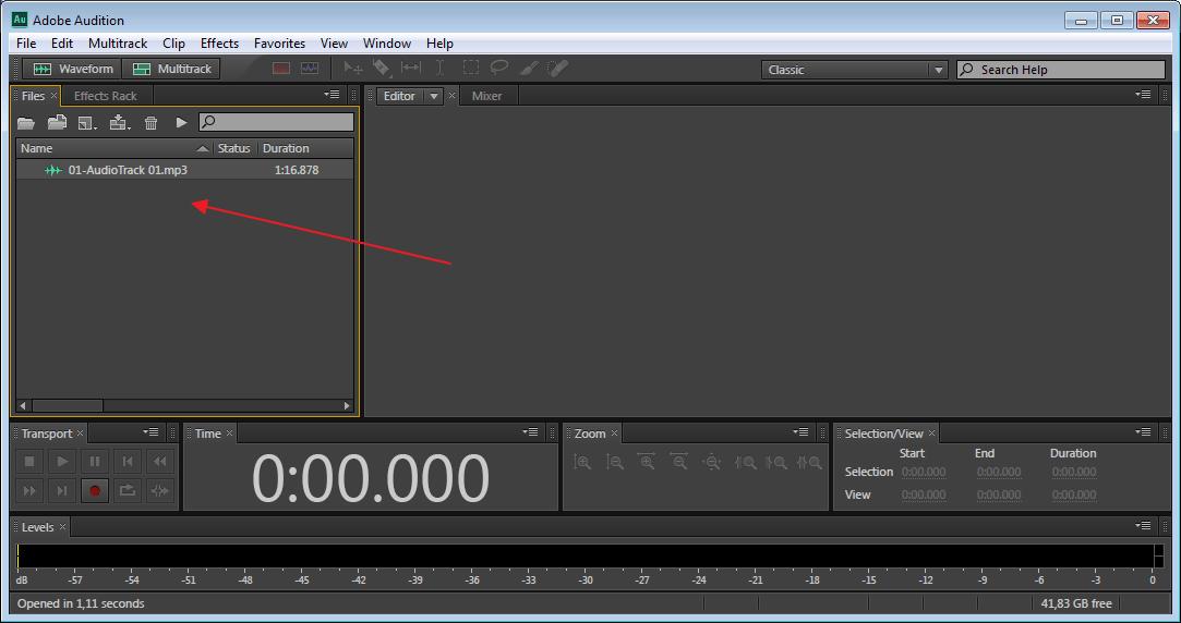 Добавление записи в программу Adobe Audition