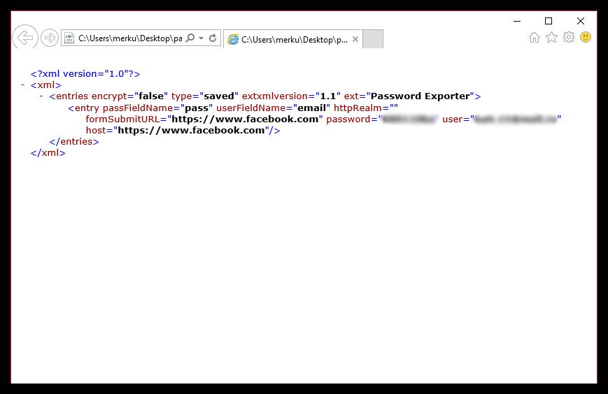 Экспорт паролей в Mozilla Firefox