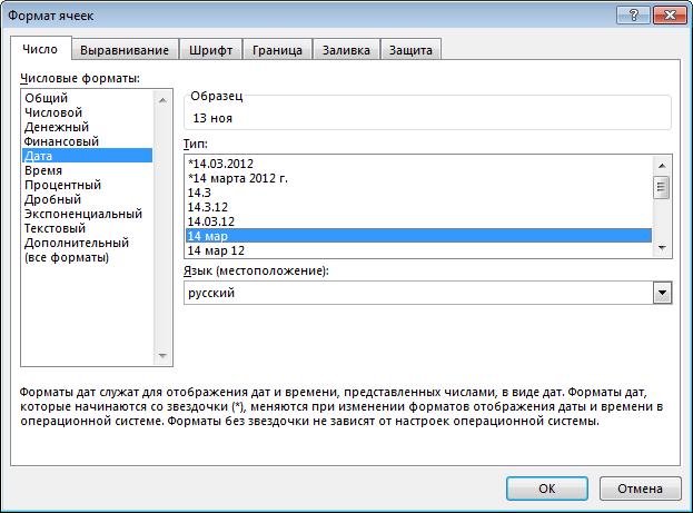 Формат ячеек в программе Microsoft Excel